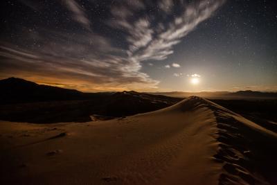 Kelso Dunes, Mojave National Preserve, moonlight.
